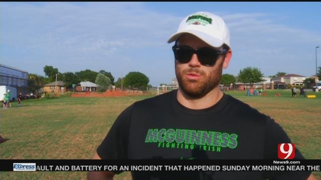 Gabe Ikard & Blake Bell Help Out at Youth Football Camp at Bishop McGuinness