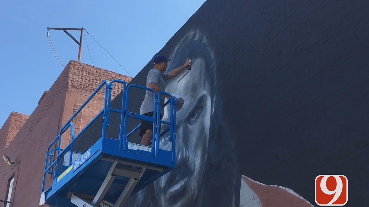 Artist Paints Steven Adams Mural In Downtown OKC