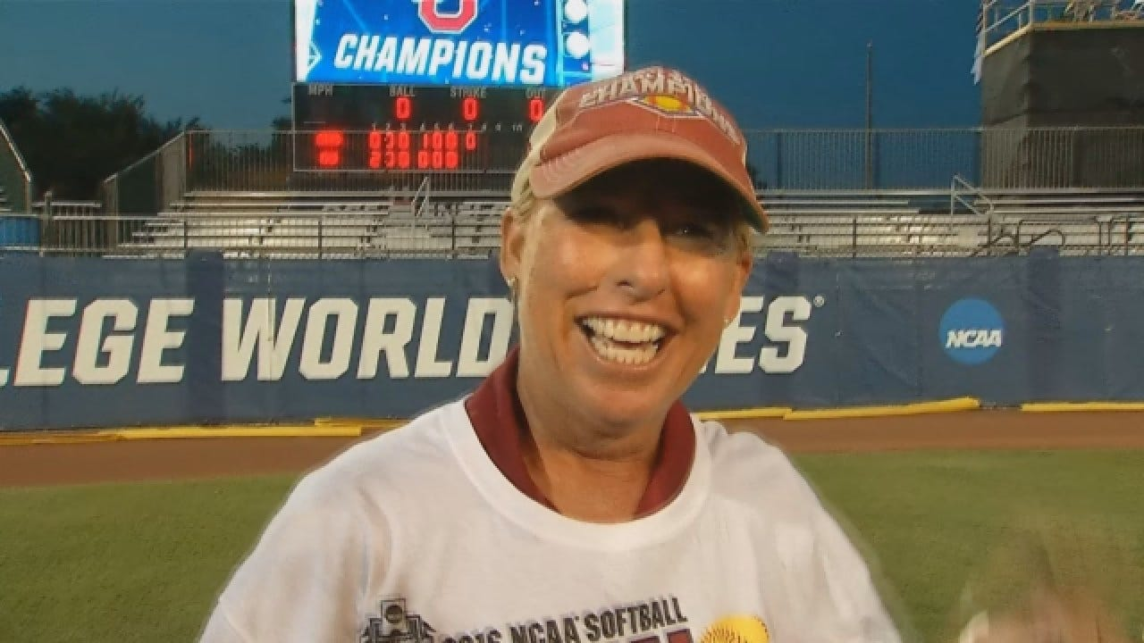 OU Softball: Patty Gasso & Players Celebrate Win Over Auburn to Claim National Title
