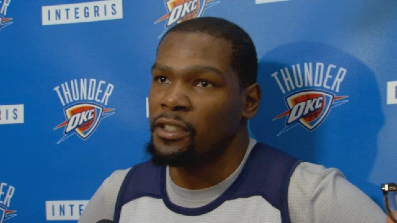Kevin Durant Talks With Media Before Game 6 Against Warriors