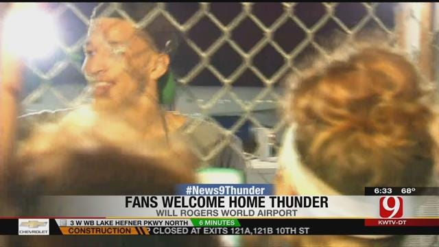Hundreds Of Fans Welcome OKC Thunder Home