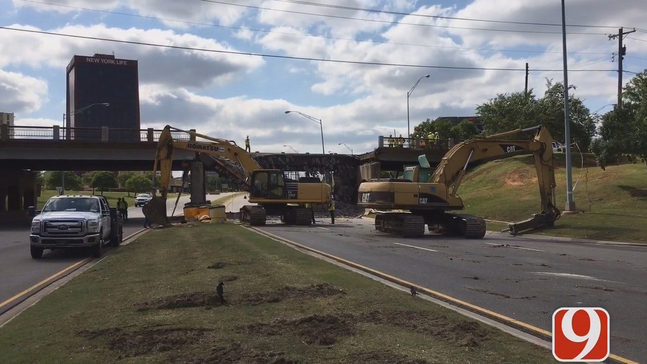 WEB EXTRA: Traffic Congested Near May, NW Expressway Due To Bridge Collapse