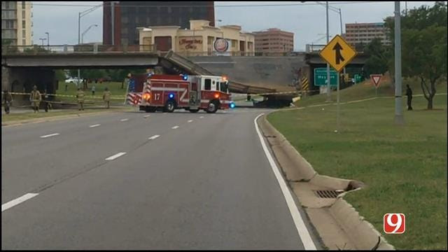 WEB EXTRA: News 9 Crew On Scene Of May Ave. Bridge Collapse Over NW Expressway