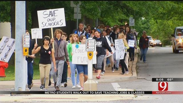 Students At Classen SAS March To Capitol In Protest Of Budget Cuts