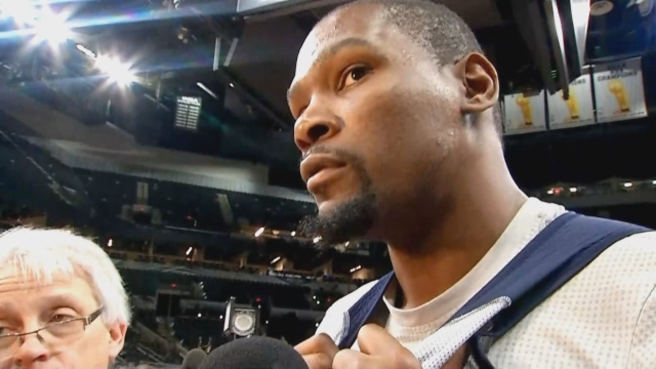 Kevin Durant Talks With Reporters Before Game 2 Against Spurs