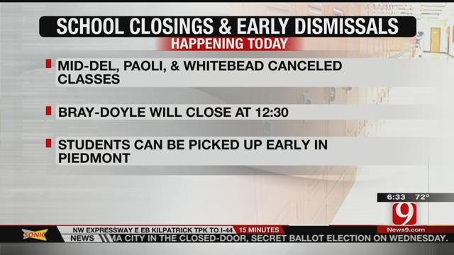 Some Oklahoma Schools Cancel Classes Due To Risk Of Severe Weather