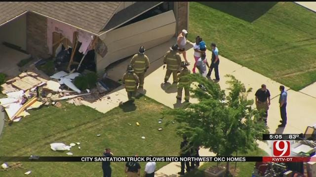 Crews Called After City Trash Truck Crashes Into Homes