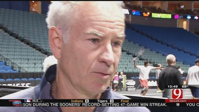 John McEnroe In Oklahoma With Group Of Stars