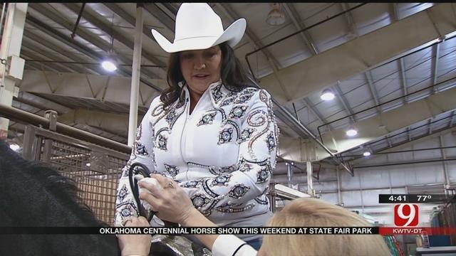 Sassy Mama Rides A Horse At The Oklahoma Centennial Horse Show