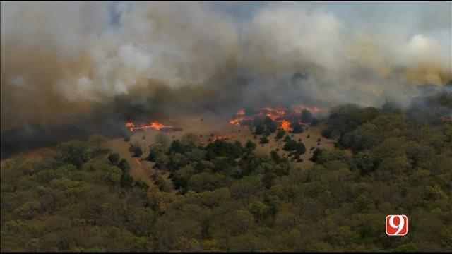WEB EXTRA: SkyNews 9 Flies Over Grass Fire In Logan County
