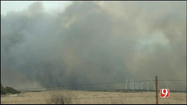 WEB EXTRA: Storm Tracker Marty Logan Covers Woodward Co. Grass Fire