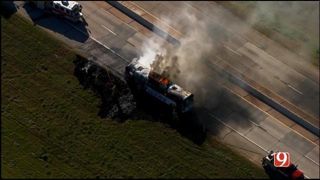 WEB EXTRA: Bob Mills SkyNews 9 Flies Over School Activity Bus Fire On I-44