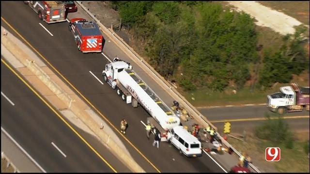 WEB EXTRA: Bob Mills SkyNews 9 HD Flies Over Crash Involving Van, Tanker