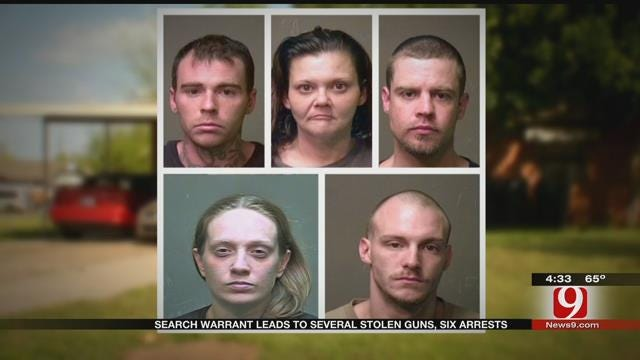 Search Warrant Leads To Several Stolen Guns, Six Arrests In SW OKC