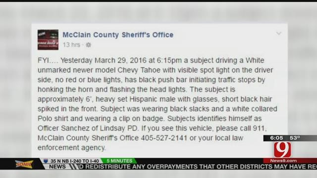 McClain County Sheriff's Office Warns Against Police Officer Impersonator