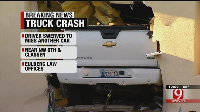Pickup Crashes Into Building Near Downtown OKC
