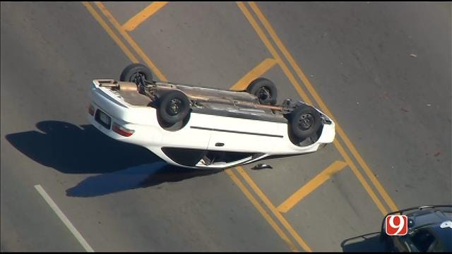 WEB EXTRA: SkyNews 9 Flies Over Rollover Wreck Near Governor's Mansion