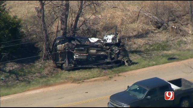 WEB EXTRA: SkyNews 9 Flies Over Rollover Crash Northwest Of Edmond