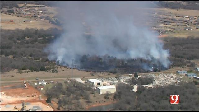 WEB EXTRA: SkyNews 9 Flies Over Grass Fire South Of Guthrie