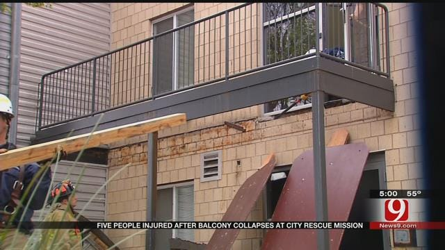 5 Injured In Balcony Collapse At City Rescue Mission In Downtown OKC