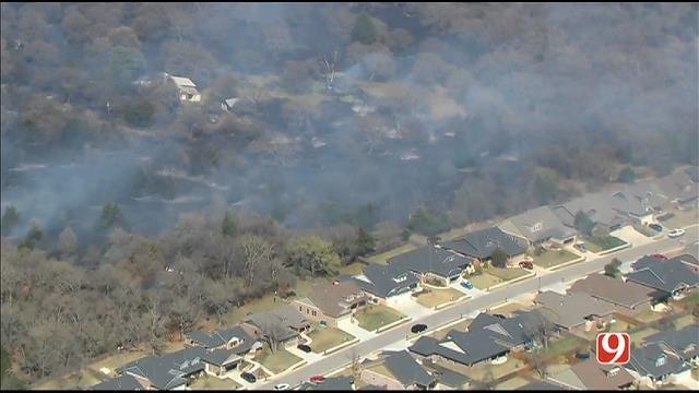 WEB EXTRA: SkyNews 9 Flies Over Grass Fire Near I-35, Danforth In Edmond
