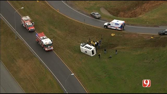 WEB EXTRA: SkyNews 9 Flies Over Church Bus Rollover Crash In South OKC
