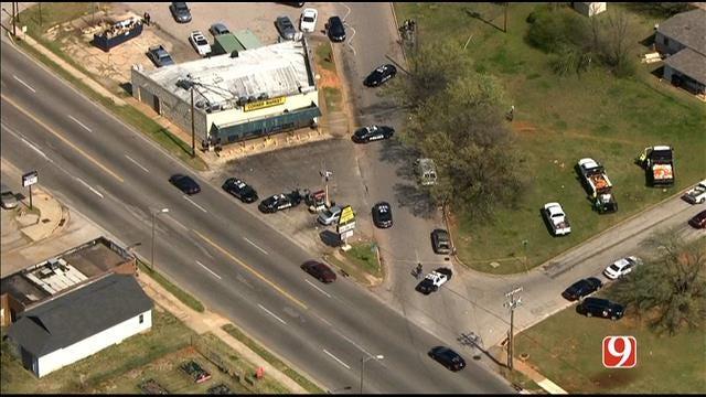 WEB EXTRA: Bob Mills SkyNews 9 HD Flies Over Scene Of NE OKC Deadly Shooting