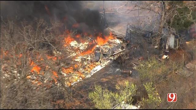 WEB EXTRA: SkyNews 9 Flies Over Barn Fire North Of Edmond