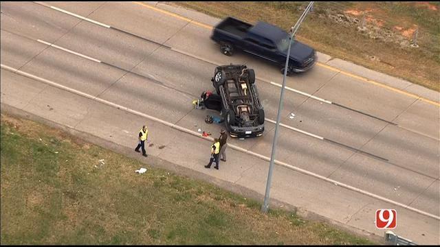 WEB EXTRA: SkyNews 9 Flies Over Rollover Crash On I-44 In SW OKC
