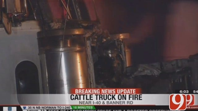 Cattle Truck Catches Fire On I-40