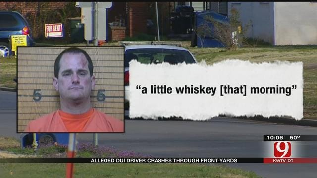 Alleged DUI Suspect Crashes Through Front Yards In Chickasha