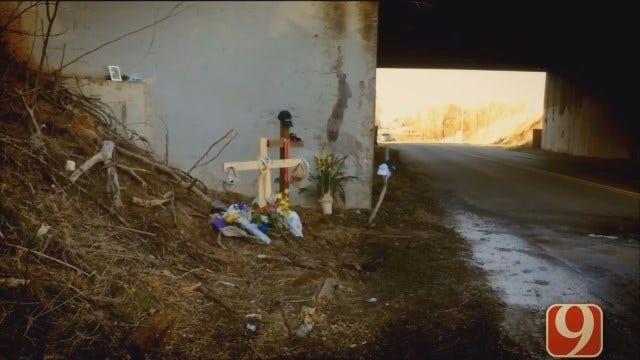 Memorial Set Up At McClendon Crash Site