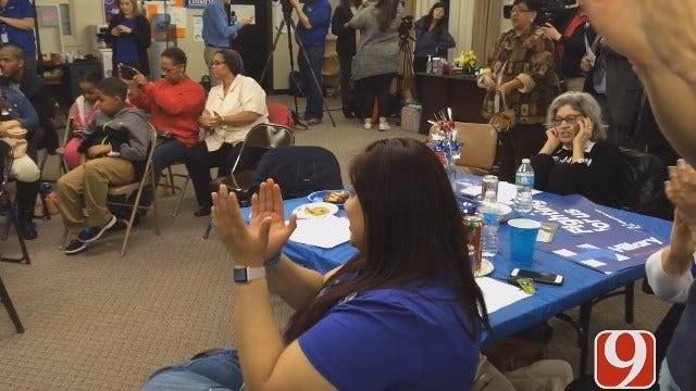 WEB EXTRA: Supporters In OK Watch Clinton Speak After Several Big Super Tuesday Wins