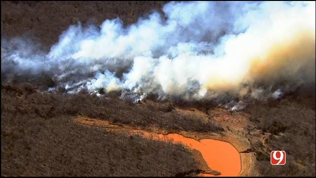 WEB EXTRA: SkyNews 9 Flies Over Grass Fire Near Jacktown