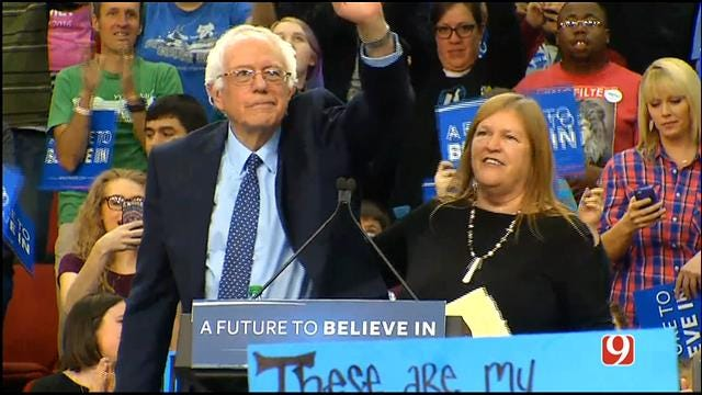 Bernie Sanders Holds Campaign Rally In Downtown OKC