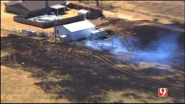 Bob Mills SkyNews 9 HD Flies Over Large Grass Fire Near Union City