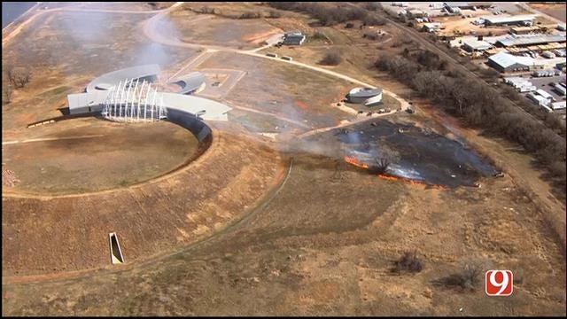 WEB EXTRA: SkyNews 9 Flies Over Grass Fire Near American Indian Cultural Center