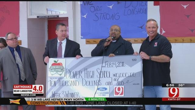 News9 And Metro Ford Of OKC Present $10,000 Check To Dover High School