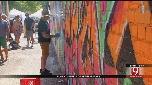 Artists Paint Plaza District's First Urban Art Mural