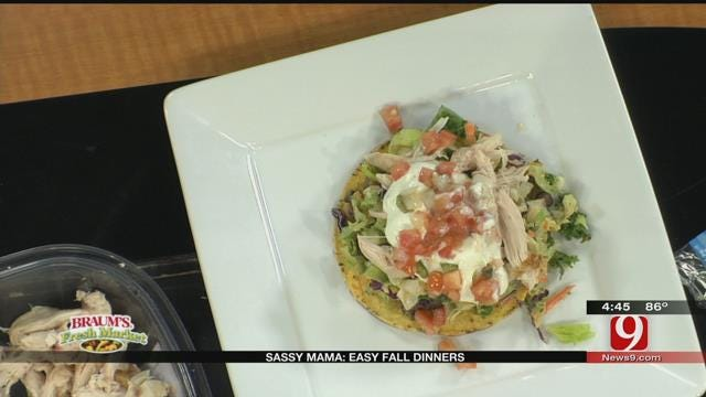 Pulled Chicken Tostada with Black Bean Refried Beans