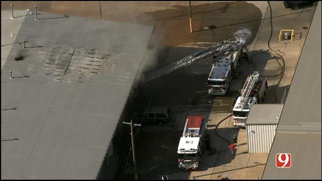 WEB EXTRA: SkyNews 9 Flies Over Commercial Fire In South OKC