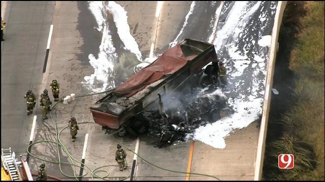 WEB EXTRA: Bob Mills SkyNews 9 HD Flies Over Semi-Truck Fire On I-40 At I-35.