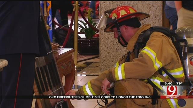 Firefighters Climb Downtown OKC Building to Honor Firefighters Killed In 9/11