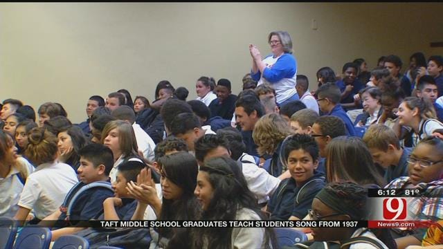 Taft Middle School Graduates Teach Student Song From 1937