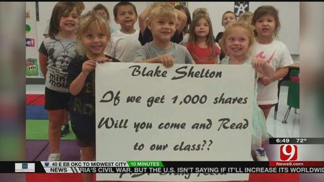 Photo Of OK Students Asking Blake Shelton To Read To Their Class Goes Viral