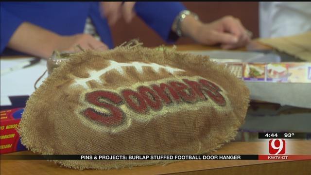 Pins & Projects: Burlap Stuffed Football Door Hanger