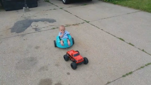 Dad Modifies RC Car, Takes Baby Son For A Ride