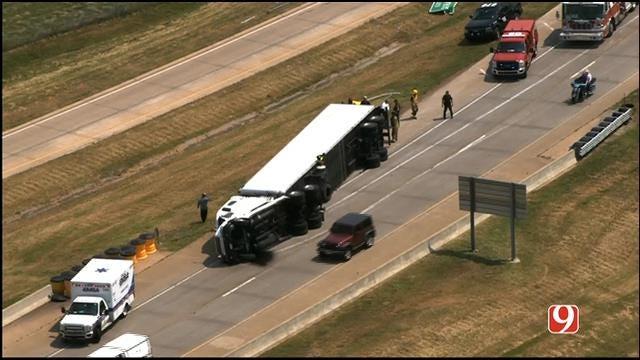 WEB EXTRA: SkyNews 9 Flies Over Overturned Semi Wreck On I-44