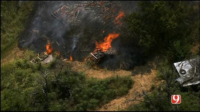 WEB EXTRA: SkyNews 9 Flies Over Grass Fire In NE OKC