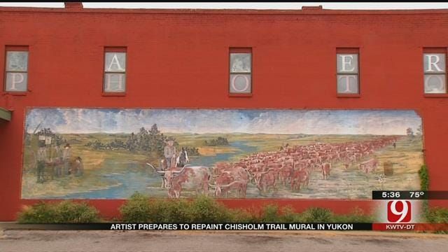 Oklahoma Artist Wants To Bring Fading Chisholm Trail Mural Back To Life
